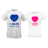 Парные футболки I hate valentine day - i love stinks