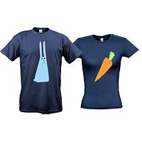 Парные футболки с зайцем и морковкой