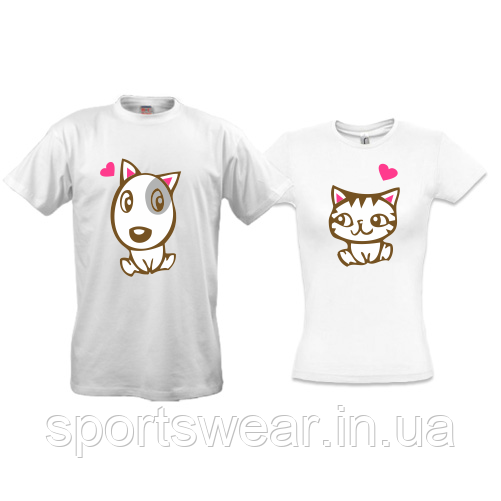 "Парные футболки ""Doggy Kitty in Love"""