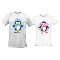 """Парные футболки с новогодними пингвинами """"Любовь греет"""""""