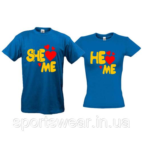 Парные футболки She love me - He love me