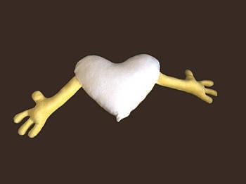 Подушка плюшевая сердце обнимашка для сублимации цвет желтый