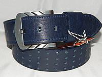 Ремень мужской кожаный классический синий 45 мм 930524