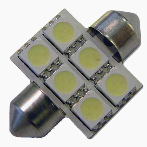 Светодиодная лампа в подсветку салона, багажника SV8,5(C5W)-31mm-5050-6 Белый