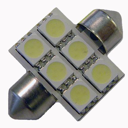 Светодиодная лампа в подсветку салона, багажника SV8,5(C5W)-31mm-5050-6 Белый, фото 2