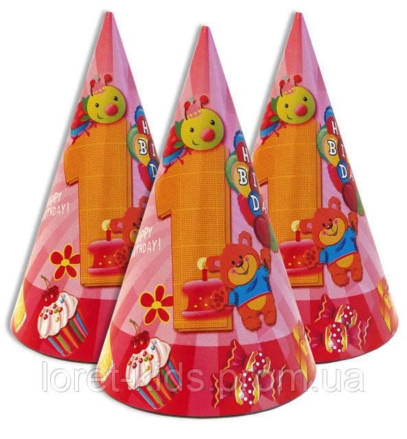 """Колпачки, колпаки праздничные, маленькие """" Первый годик розовый """""""