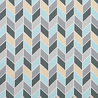 Хлопковая ткань Косички мятный, серый, кремовый, фото 1