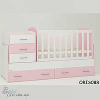 Кроватка-трансформер Oris - Mebel Afina Бело-розовый