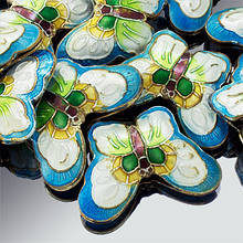 Бусины Клуазоне Бабочка, ручная работа, металл, Эмаль, Цвет: Голубой, Размер: 17х23х5мм, Отв-тие 2мм, (УТ0002726)