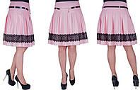 Молодежная юбка с черным кружевом. Цвет розовый (пудра). Размер: 42,44,46,48. Код 170\2