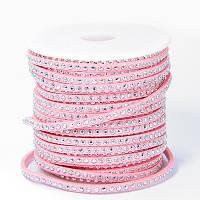 Шнур Замшевый, с серебристыми алюминиевыми вставками, Цвет: Розовый, Размер: Ширина 3мм, Толщина 2мм, 18м/катушка, (УТ100005688)