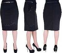 Женская юбка большого размера. Цвет черный. Размер: 52,54,56,58.  Код 234, фото 1