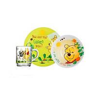 Luminarc Disney Winnie Garden.Набор д-детей(кух.250мл,тар.19см,салат.16см) -3пр. Детская посуда Люминарк