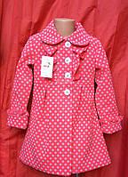 Детское демисезонное элегантное пальто с отложным воротником р.98-116 для девочек