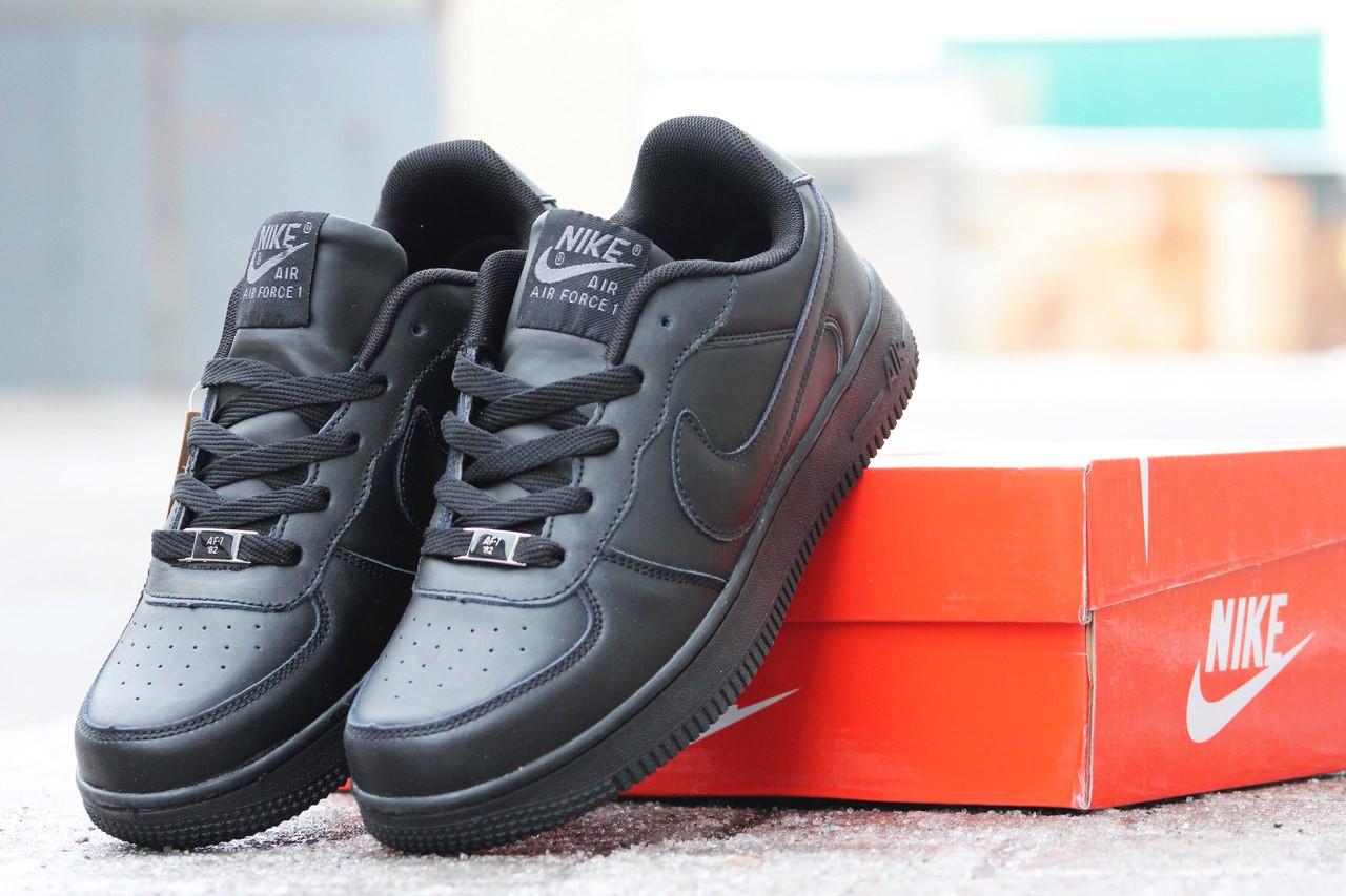Мужские кроссовки NIKE AIR Force черные на платформе ( реплика ААА+) -  bonny- cdd64ae85b2