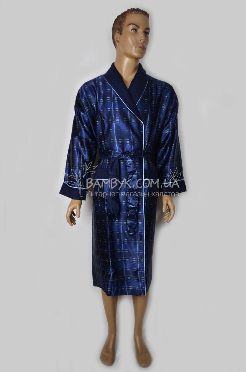 ce6dd20a9800 Шелковый мужской халат Nusa (синий) №8015, цена 1 566 грн., купить в ...