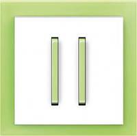Выключатель двухклавишный + рамка. Белый/Зелёный лёд. ABB Neo
