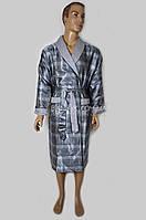 Шелковый мужской халат Nusa (серый) №8015
