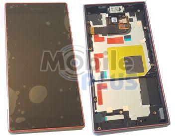 Sony E5803, E5823 Xperia Z5 Compact Передняя панель с дисплеем и сенсором, Coral, original (PN:1297-3734)
