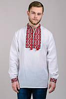 """Мужская сорочка вышиванка с красным орнаментом """"Тарас"""", р.44-54"""