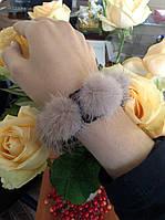 Резинка для волос с натуральным мехом норки цвета в ассортименте