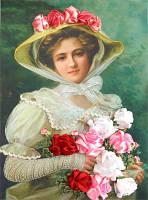 Набор для вышивания лентами Дама с букетом роз