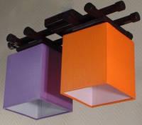 Люстра 2-х ламповая, металлическая, с деревом для небольшой комнаты 14906-5