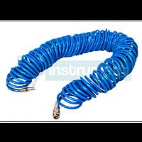 Шланг спиральный полиуретановый с быстроразъемными соединениями 20 м INTERTOOL РТ-1709 предназначен для быстрого и безо