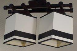 Люстра 2-х ламповая, металлическая, с деревом для небольшой комнаты 14906-9