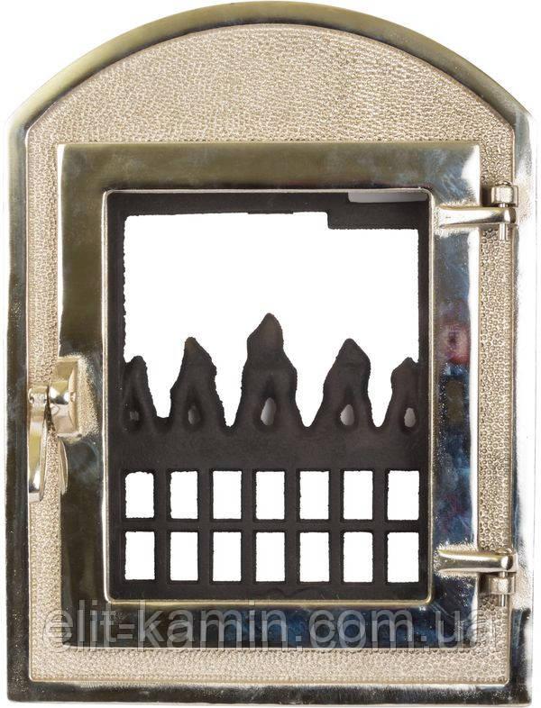 Каминные дверцы со стеклом Delta Dali (хром) (350х470)