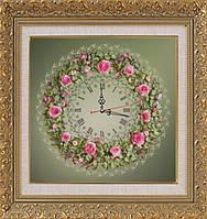 """Набор-часы для вышивания шелковыми лентами """"Розовый венок"""" (зеленый фон)"""