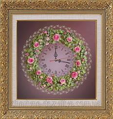 """Набор-часы для вышивания шелковыми лентами """"Розовый венок"""" (фиолетовый фон)"""