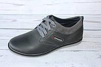 Кожаные подростковые туфли черного цвета Л82