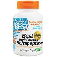 Doctor's Best, Высокоэффективная серрапептаза (Best High Potency Serrapeptase), 120 000 SPU, 90 растительных к