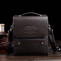 Новинка! Каркасная мужская сумка Polo через плечо с ручкой КС86-1