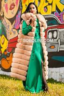 Удлиненный жилет из меха финского песца на молнии, цвет кремовый, воротник отложной, в наличии