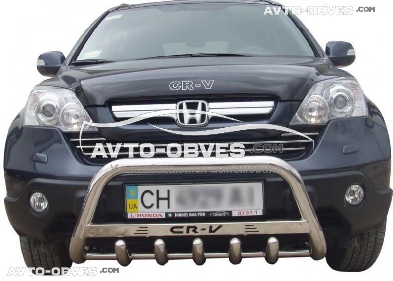 Кенгурятник для Хонда ЦРВ нержавейка, с логотипом