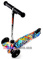 Самокат детский Scooter Mini Style Cool Draft с рисунком светящиеся колеса
