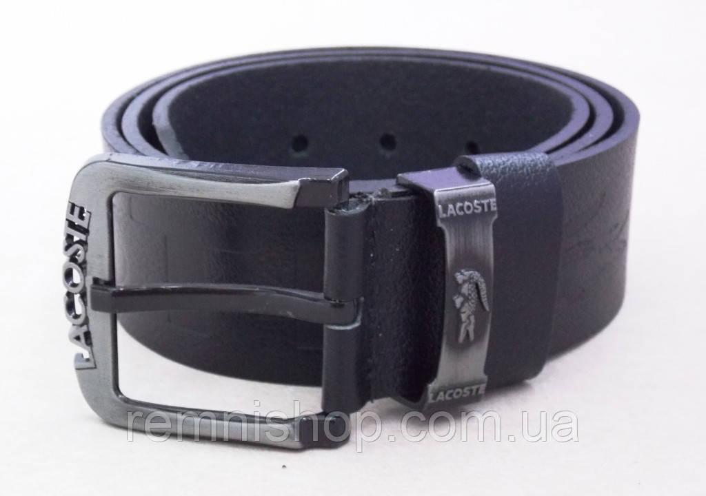 Кожаный черный мужской ремень Lacoste