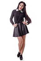 Стильная женская блузка прямого кроя чёрного цвета