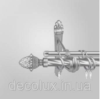 Карниз для штор двухрядный металлический 25 мм. Шишка витая