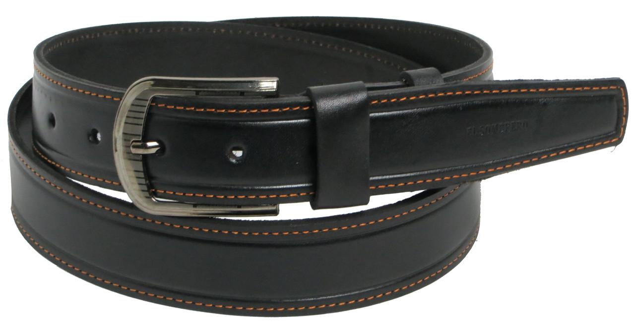 Ремень джинсовый мужской кожаный Skipper 5448-1 чёрный ДхШ: 134х4 см.