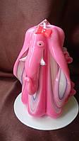 Свеча фен-шуй розовый слоник - резная свеча ручной работы на подарок
