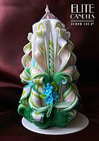 Подарочная свеча ручной работы на 8 марта, день Святого Валентина, 14 февраля с цветами из полимерной глины