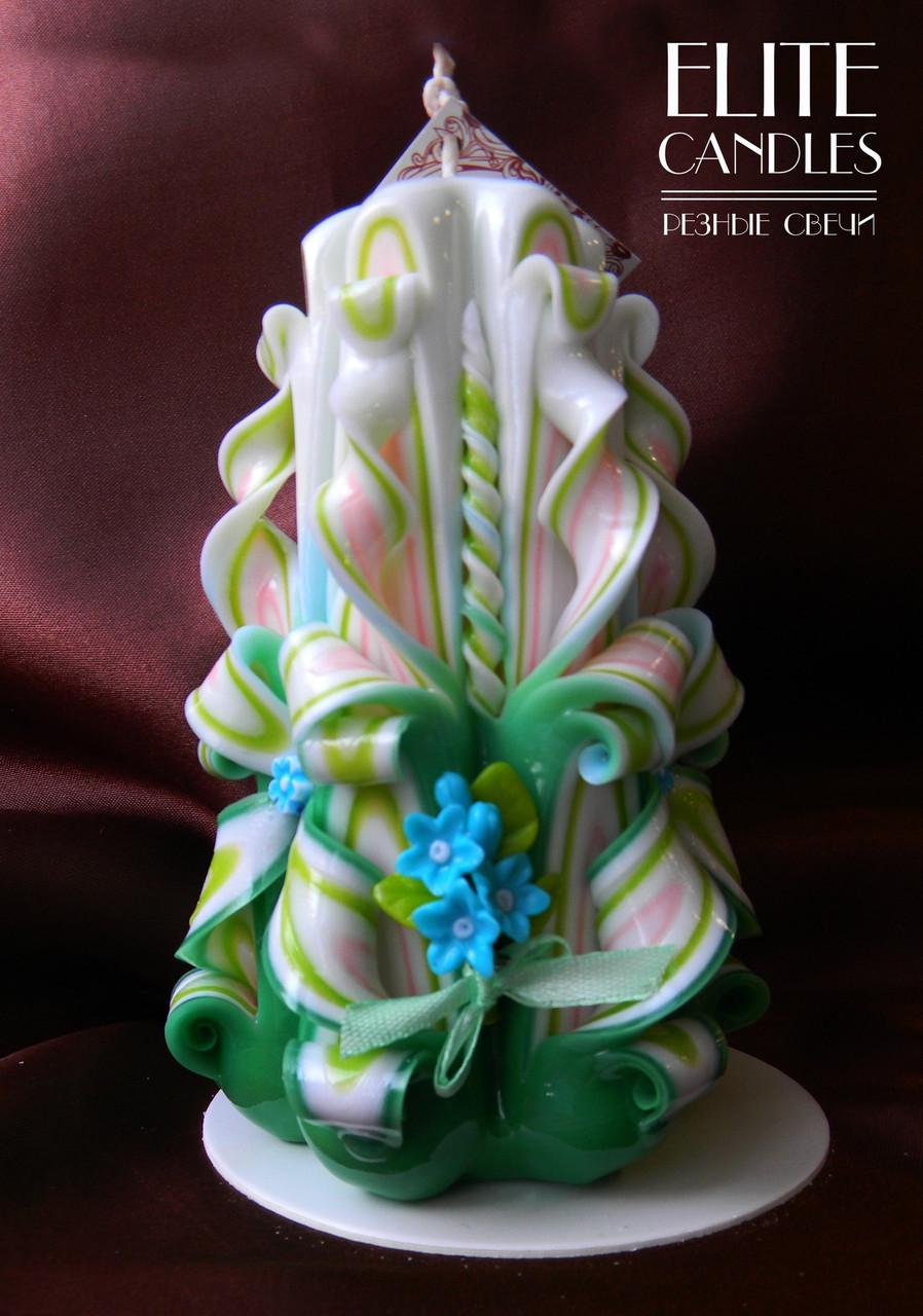 Подарочная свеча ручной работы на 8 марта, день Святого Валентина, 14 февраля с цветами из полимерной глины - ELITE CANDLES Интернет-магазин подарков и декора в Каменце-Подольском