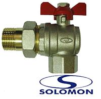 Кран шаровый SOLOMON 1/2 c американкой угловой