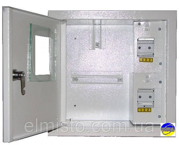 Щит ШМР-1ф-4А-В розподільний металевий для 1ф. індукційного лічильника і 4 авт. вимикачів