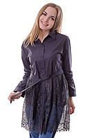 Женская удлиненная блузка чёрного  цвета