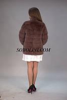 Стильный полушубок из меха норки коппенгаген, поперечка, цвет корица, длина 70см,44 размер