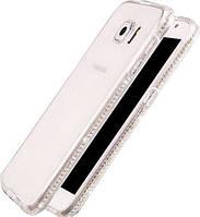 Чехол силиконовый прозрачный c камнями Swarovski для Samsung Galaxy S7